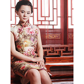 Mandarin Collar Sleeveless Knee-length Silk Cheongsam
