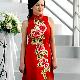 Mandarin Collar Floor-length Sleeveless 100% Pure Silk Cheongsam / Qipao / Chinese Dress (HGQP216)