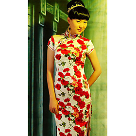 Mandarin Collar Ankle-length Short Silk Cheongsam / Qipao / Chinese Dress (HGQP192)