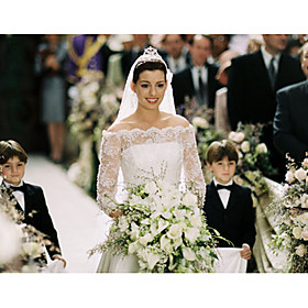 Anne Hathaway The Princess Diaries 2: Royal Engagement A-line Bateau Chapel Train Illusion Satin Lace Celebrity Wedding Dress (WSM0366)