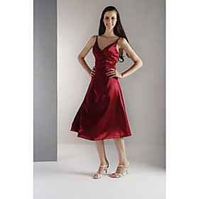 2009 Style A-line V-neck Tea-length Satin Bridesmaid/ Wedding Party Dress (HSX867)