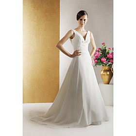 2009 Style A-line V-line Sweep Train Satin Chiffon Wedding Dresses for Bride (HSX1160)
