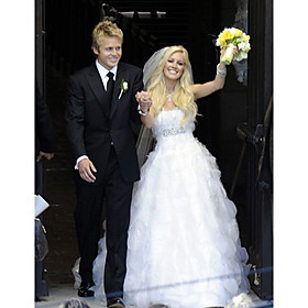 Heidi Montag Ball Gown Sweetheart Floor-length Satin Organza Celebrity Wedding Dress (WSM0367)