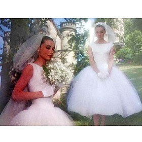 Audrey Hepburn Funny Face Ball Gown Bateau Tea-length Satin Tulle Celebrity Wedding Dress (WSM0363)