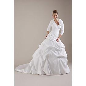 V neck ruffle wedding dress.