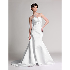 Trumpet/Mermaid Strapless Chapel Train Satin Wedding Dresses for Bride (HSX033)