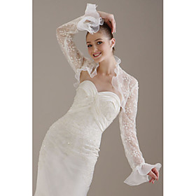 Long Sleeves Organza  Lace  Bridal Jacket / Wedding Wrap (WSM0397)