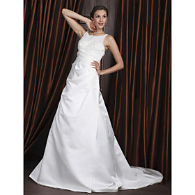A-line Scoop Court Train Satin Tulle Wedding Dresses (WSM0462)
