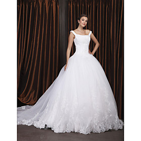 Ball gown style wedding dress off the shoulder.