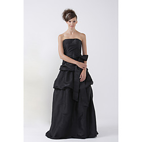 A-line Strapless Floor-length Taffeta Bridesmaid/ Wedding Party Dress (HSX036)