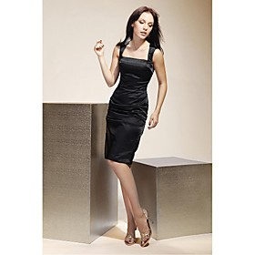 Sheath/ Column Square Short/ Mini Elastic Woven Satin Bridesmaid/ Little Black/ Wedding Party/ Homecoming Dress (FSH0423)