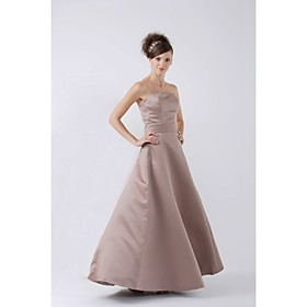 A-line Strapless Floor-length Satin Bridesmaid/ Wedding Party Dress (HSX169)