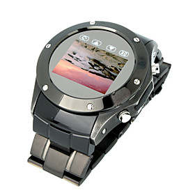 W968 Qaud Band Metal Cover Touch Screen FM Watch Cell Phone Black(Start From 3 Units)