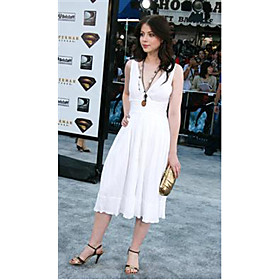 Michelle Trachtenberg A-line V-neck Tea-length Chiffon Elastic Woven Satin Bridesmaid/Gossip Girl Fashion Dress (FSH0433)