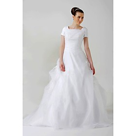 Ball Gown Square Sweep / Brush Train Satin Organza Wedding Dresses for bride (HSX024)
