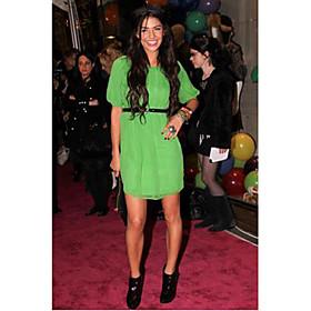 Jessica Szohr Sheath/Column Scoop Short/Mini Batwing Sleeve Chiffon Elastic Woven Satin Gossip Girl Fashion Dress (FSH0439) - US$ 79.99