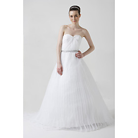 A-line Sweetheart Chapel Train Satin Tulle Wedding Dresses for Bride (HSX221)