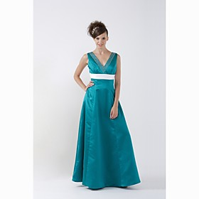A-Line V-neck Floor-length Satin Bridesmaid/ Wedding Party Dress (HSX173)