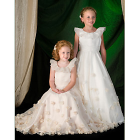 A-line Scoop Floor-length Organza Satin Flower Girl Dresses (WSM0495)