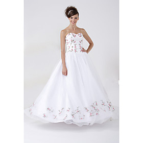 2009 Style A-line Strapless Floor-length Satin Organza Wedding Dresses for Bride HSX1185