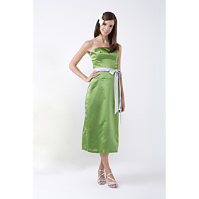 A-line Strapless Tea-length Satin Bridesmaid/ Wedding Party Dress (HSX866)