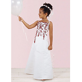 A-line Spaghetti Straps Floor-length Satin Flower Girl Dresses (WSW0491)