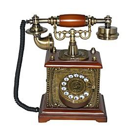 Telefono Antiguo De Disco En Madera Maciza
