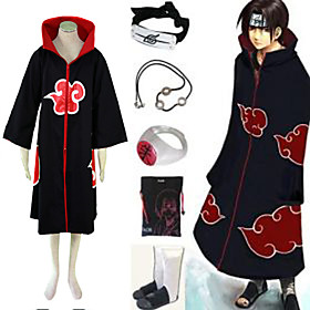 Naruto Akatsuki Itachi Uchiha Deluxe Men's Cosplay Costume And Accessories Set Picture