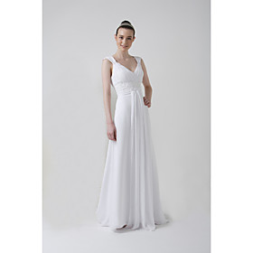 Empire V-neck Court train Satin Chiffon Wedding Dresses for Bride 2009 Style / Reception Dress (WSW0055)