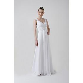 Empire V-neck Court train Satin Chiffon Wedding Dresses for Bride 2009 Style / Reception Dress (WSW0055)