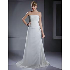 A-line Strapless Court Train Satin Chiffon Prom/ Evening Dress (YCF130)