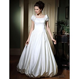 2010 style Princess Scoop  Short  Sweep / Brush Train Satin Wedding Dress (WGY0528)