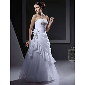 A-line Floor-length Taffeta and Tulle Wedding Dresses for Bride (HSX267)