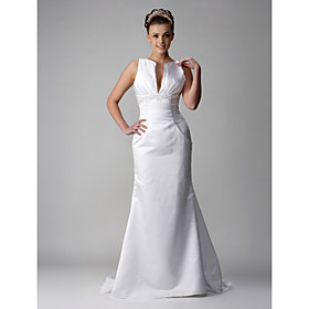 Trumpet/Mermaid V-neck Court train Sleeveless Satin Wedding Dresses for Bride / Reception Dress (WSW0059)
