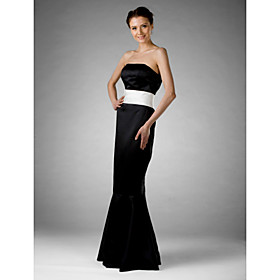 Trumpet/ Mermaid Strapless Sweep/ Brush Train Satin Bridesmaid/ Wedding Party/ Evening Dress (FSD0226)