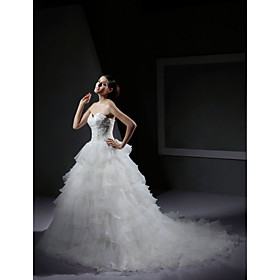 Ball Gown Sweetheart Sweep / Brush Train Satin Tulle  Wedding Dresses for Bride (HSX273)