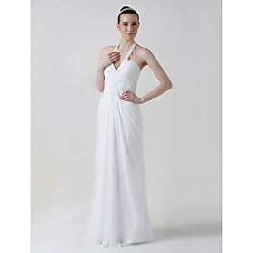 Sheath / Column Halter Sweep / Brush Train Sleeveless Chiffon Wedding Dresses for Bride 2009 Style / Reception Dress (WSW0005)