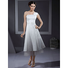 A-line Spaghetti Straps Knee-length Satin Tulle Wedding Dresses for Bride (HSX1202)