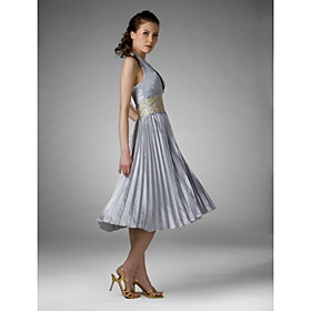A-line Halter Tea-Length Satin Bridesmaid/ Wedding Party Dress (HSX746)