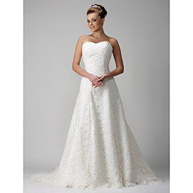 A-line Sweetheart Chapel Train Satin Lace Wedding Dresses for Bride / Reception Dress (WGY0049)