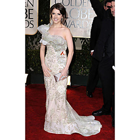 Anna Kendrick Sheath/ Column One Shoulder Court Trains Sleeveless Satin/ Lace Golden Globe/ Evening Dress (FSM0535)