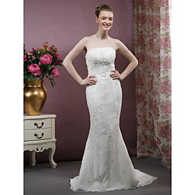 Trumpet / Mermaid Strapless  Court Train Chiffon Designer Wedding DressesTrumpet/Mermaid Wedding Dresses (WSW0321)