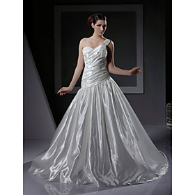 2010 Style A-line One Shoulder Sleeveless Satin /  Sweep / Brush Train Wedding Dress (WD9091603)