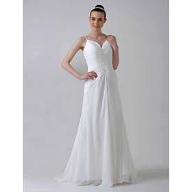 A-line Sweetheart Sweep / Brush Train Satin Charmeuse Wedding Dresses for Bride (HSX027)