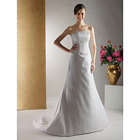 A-line Strapless Chapel Train Satin Wedding Dresses for Bride (HSX1274)