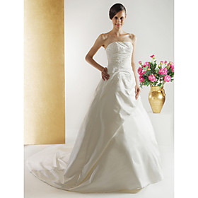 A-line Chapel Train Satin Wedding Dresses for Bride (HSX282)