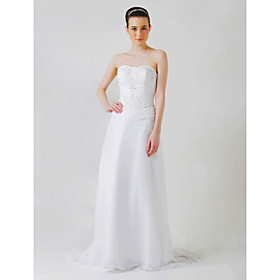 A-line Chapel Train Chiffon Wedding Dresses for Bride (HSX225)
