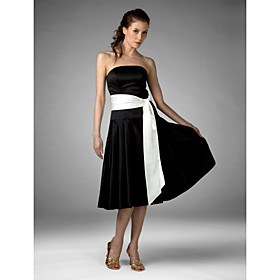 A-line Strapless Tea-Length Satin Bridesmaid/ Wedding Party Dress (FSD0225)