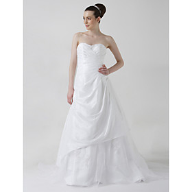 A-line Sweetheart Chapel Train Taffeta Organza Wedding Dresses for Bride (HSX1157)