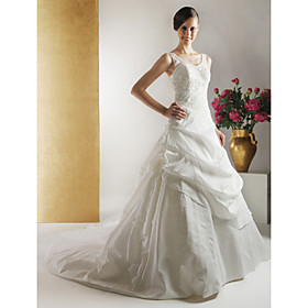 Ball Gown Court Train Taffeta Lace Wedding Dresses for Bride (HSX279)